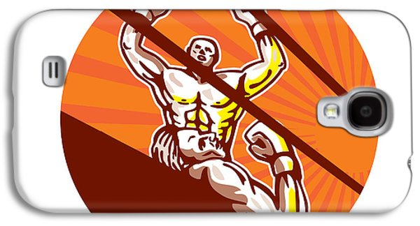 Knockout Digital Art Galaxy S4 Cases - Amateur Boxer Winning Circle Cartoon Galaxy S4 Case by Aloysius Patrimonio