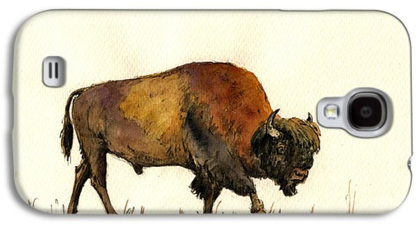 Bison Paintings Galaxy S4 Cases - American buffalo watercolor Galaxy S4 Case by Juan  Bosco