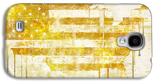 Stars And Stripes Paintings Galaxy S4 Cases - American Flag Map Galaxy S4 Case by Mindy Sommers