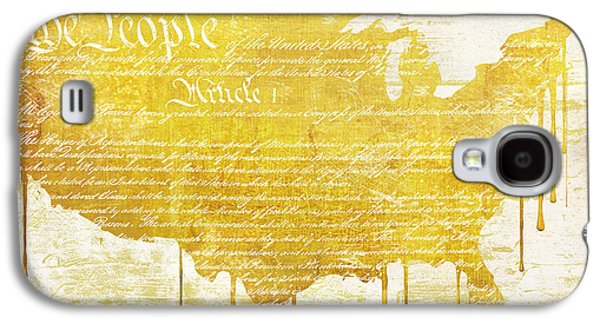 Constitution Galaxy S4 Cases - Gold American Map Constitution Galaxy S4 Case by Mindy Sommers