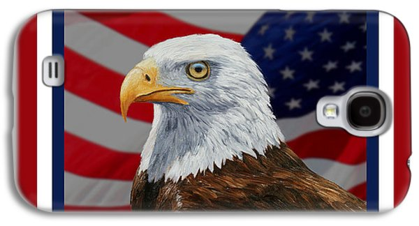 4th July Paintings Galaxy S4 Cases - American Eagle Phone Case Galaxy S4 Case by Crista Forest