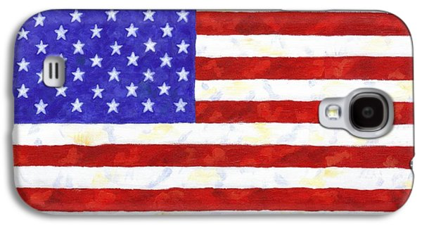 4th July Paintings Galaxy S4 Cases - American Flag Galaxy S4 Case by Linda Mears