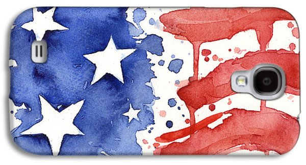 4th July Paintings Galaxy S4 Cases - American Flag Watercolor Painting Galaxy S4 Case by Olga Shvartsur