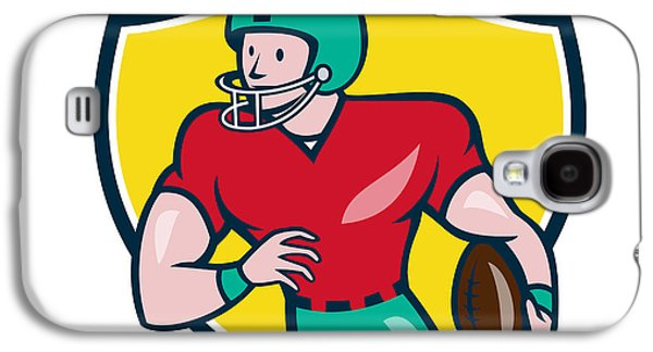 Wide Receiver Galaxy S4 Cases - American Football Receiver Running Shield Cartoon Galaxy S4 Case by Aloysius Patrimonio