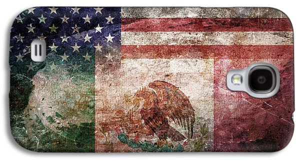 4th July Digital Galaxy S4 Cases - American Mexican Tattered Flag  Galaxy S4 Case by Az Jackson