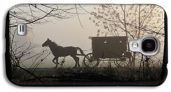 Amish Photographs Galaxy S4 Cases - Amish Buggy Foggy Sunday Galaxy S4 Case by David Arment