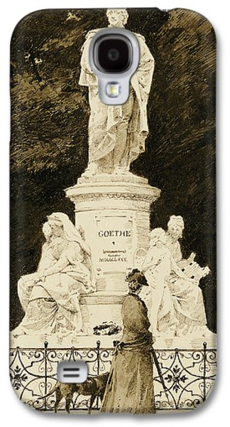 Dog Walking Galaxy S4 Cases - An Elegant Lady at the Statue of Goethe Galaxy S4 Case by Paul Fischer