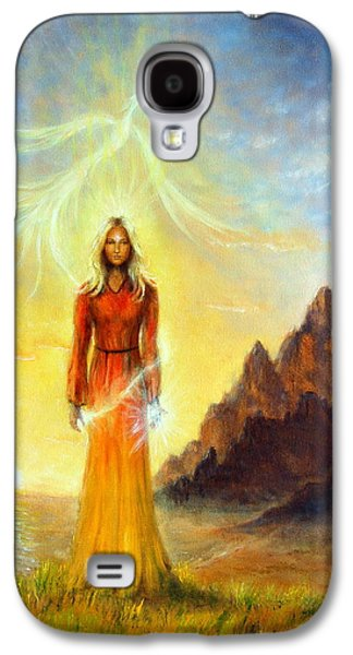 Mystic Setting Paintings Galaxy S4 Cases - An enchanting mystical priestess with a sword of light in a land Galaxy S4 Case by Jozef Klopacka