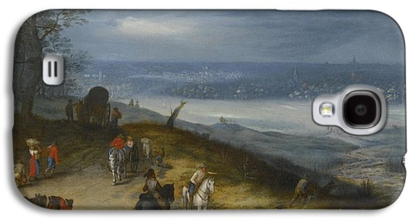 The Followers Paintings Galaxy S4 Cases - An Extensive Wooded Landscape With Travelers Galaxy S4 Case by Follower of Jan Brueghel the Elder