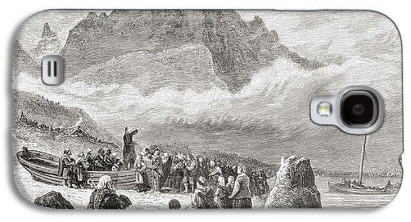 Religious Drawings Galaxy S4 Cases - An Open Air Religious Service On The Galaxy S4 Case by Ken Welsh