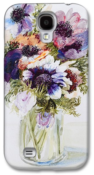 Purple Drawings Galaxy S4 Cases - Anemones in a Glass Jug Galaxy S4 Case by Joan Thewsey