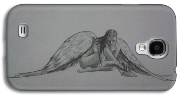 Religious Drawings Galaxy S4 Cases - Angel Laments Galaxy S4 Case by New Chapter Art