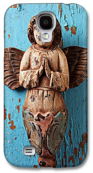 Recently Sold -  - Concept Photographs Galaxy S4 Cases - Angel on blue wooden wall Galaxy S4 Case by Garry Gay