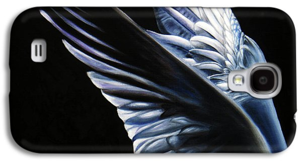 Black Bird.flying Paintings Galaxy S4 Cases - Angel Wings Galaxy S4 Case by Sun Sohovich