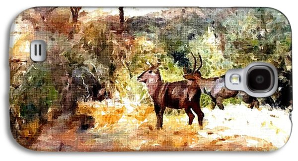 Abstract Digital Pastels Galaxy S4 Cases - Antelope Near A Stream - Wildlife Series Catus 1 no. 2 H A Galaxy S4 Case by Gert J Rheeders