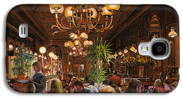 Restaurants Paintings Galaxy S4 Cases - Antica Brasserie Galaxy S4 Case by Guido Borelli