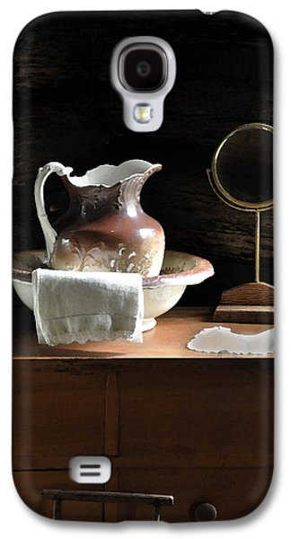 Bathroom Prints Galaxy S4 Cases - Antique Water Pitcher on Bureau Galaxy S4 Case by Rebecca Brittain