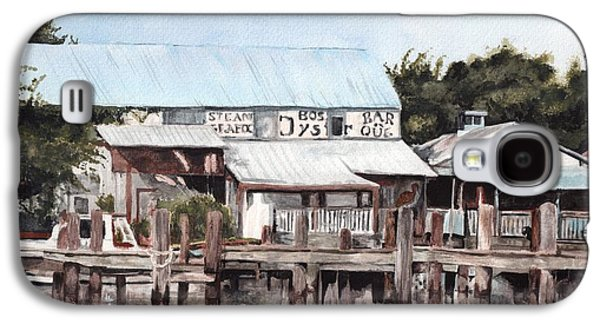Boss Paintings Galaxy S4 Cases - Apalachicola Oyster Docks Galaxy S4 Case by Jessica Matthews