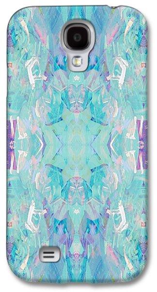 Geometric Digital Art Galaxy S4 Cases - Aqua Galaxy S4 Case by Beth Travers