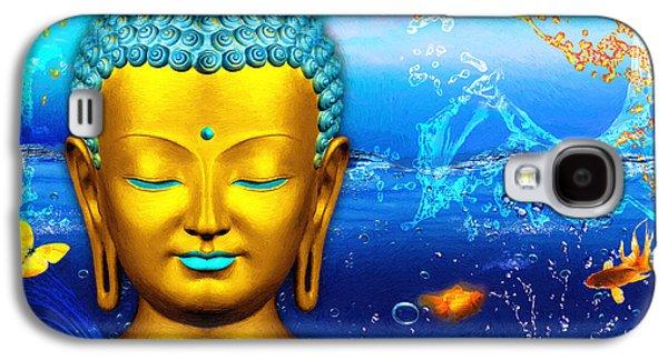 Statue Portrait Galaxy S4 Cases - Aqua Buddha Galaxy S4 Case by Khalil Houri