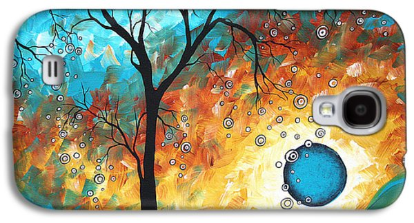 Yellow Paintings Galaxy S4 Cases - Aqua Burn by MADART Galaxy S4 Case by Megan Duncanson