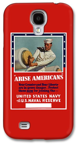 Patriotic Mixed Media Galaxy S4 Cases - Arise Americans Join the Navy  Galaxy S4 Case by War Is Hell Store