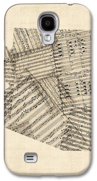 Arizona Map, Old Sheet Music Map Galaxy S4 Case by Michael Tompsett
