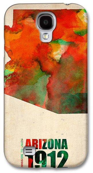 World Map Poster Digital Galaxy S4 Cases - Arizona Watercolor Map Galaxy S4 Case by Naxart Studio