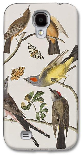 Butterfly Prey Galaxy S4 Cases - Arkansaw Flycatcher Swallow-Tailed Flycatcher Says Flycatcher Galaxy S4 Case by John James Audubon