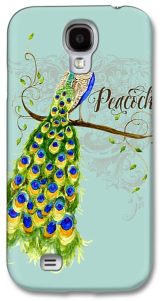 Original Mixed Media Galaxy S4 Cases - Art Nouveau Peacock w Swirl Tree Branch and Scrolls Galaxy S4 Case by Audrey Jeanne Roberts