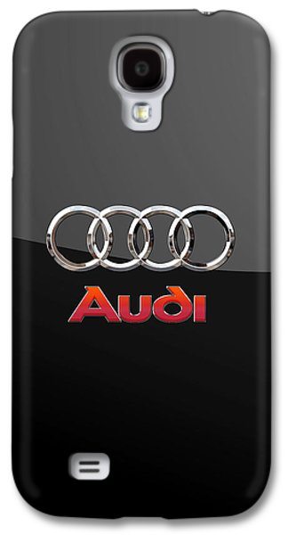 Audi - 3 D Badge On Black Galaxy S4 Case by Serge Averbukh