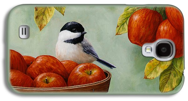 Apple Galaxy S4 Cases - Apple Chickadee Greeting Card 1 Galaxy S4 Case by Crista Forest