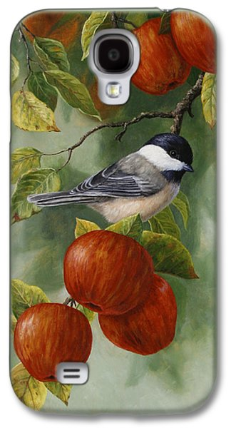 Apple Trees Galaxy S4 Cases - Apple Chickadee Greeting Card 2 Galaxy S4 Case by Crista Forest