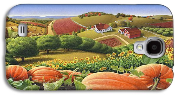 work Paintings Galaxy S4 Cases - Farm Landscape - Autumn Rural Country Pumpkins Folk Art - Appalachian Americana - Fall Pumpkin Patch Galaxy S4 Case by Walt Curlee
