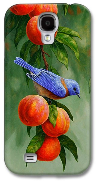Bird Painting - Bluebirds And Peaches Galaxy S4 Case by Crista Forest