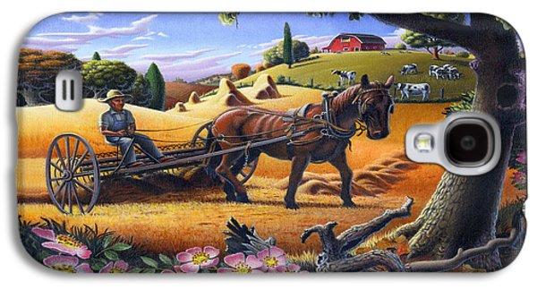 Kinkade Galaxy S4 Cases - Raking Hay Field Rustic Country Farm Folk Art Landscape Galaxy S4 Case by Walt Curlee