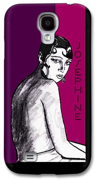 Plum Drawings Galaxy S4 Cases - Josephine Baker Portrait in Plum Pink Galaxy S4 Case by Cecely Bloom