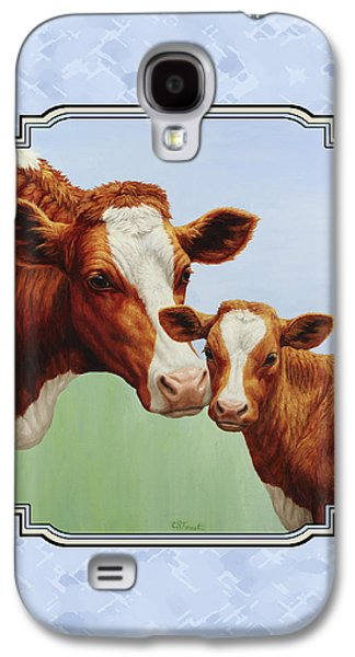 Cows Paintings Galaxy S4 Cases - Cream and Sugar Galaxy S4 Case by Crista Forest