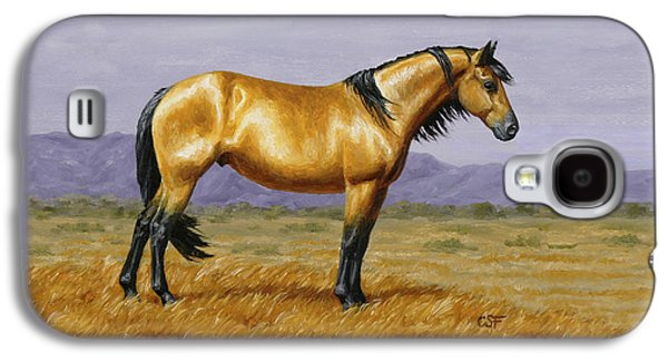 Wild Horse Paintings Galaxy S4 Cases - Buckskin Mustang Stallion Galaxy S4 Case by Crista Forest