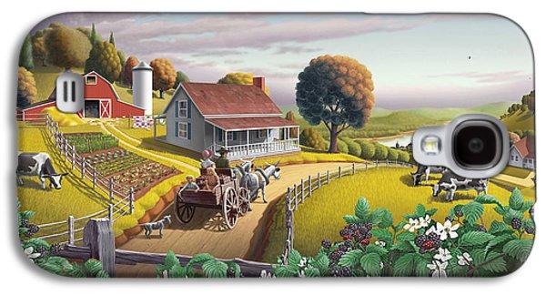 Appalachian Blackberry Patch Rustic Country Farm Folk Art Landscape - Rural Americana - Peaceful Galaxy S4 Case by Walt Curlee