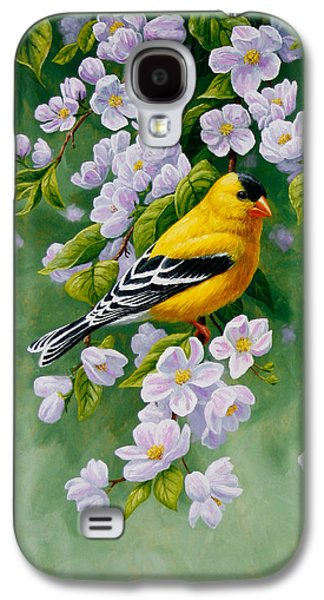 Fruit Tree Galaxy S4 Cases - American Goldfinch Spring Galaxy S4 Case by Crista Forest