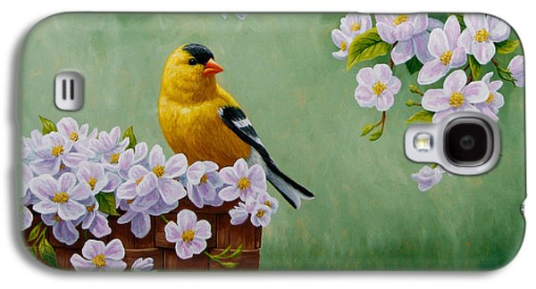 Fruit Tree Galaxy S4 Cases - Goldfinch Blossoms Greeting Card 3 Galaxy S4 Case by Crista Forest