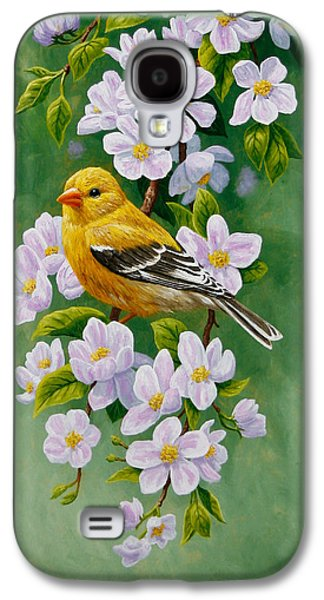 Fruit Tree Galaxy S4 Cases - Goldfinch Blossoms Greeting Card 2 Galaxy S4 Case by Crista Forest