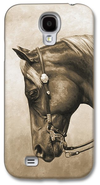 Buy Galaxy S4 Cases - Western Horse Painting In Sepia Galaxy S4 Case by Crista Forest