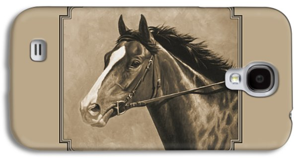 Running Digital Galaxy S4 Cases - Racehorse Painting In Sepia Galaxy S4 Case by Crista Forest