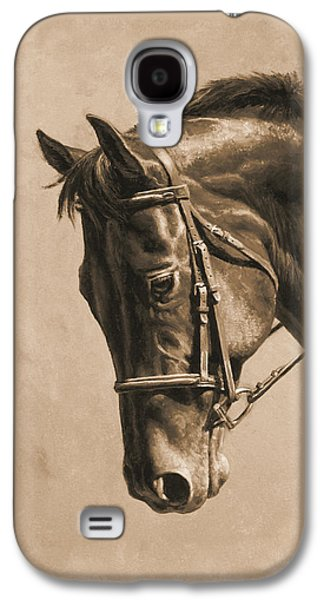 Chestnut Horse Galaxy S4 Cases - Horse Painting - Focus In Sepia Galaxy S4 Case by Crista Forest