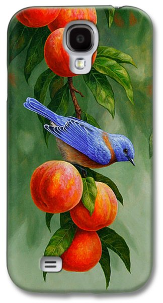 Fruit Tree Galaxy S4 Cases - Bluebird and Peaches Greeting Card 1 Galaxy S4 Case by Crista Forest