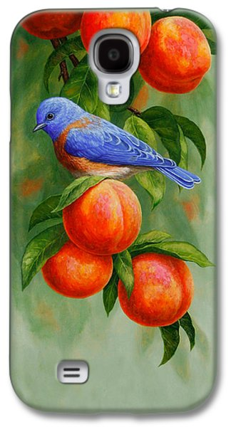 Fruit Tree Galaxy S4 Cases - Bluebird and Peaches Greeting Card 2 Galaxy S4 Case by Crista Forest