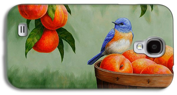 Fruit Tree Galaxy S4 Cases - Bluebird and Peaches Greeting Card 3 Galaxy S4 Case by Crista Forest