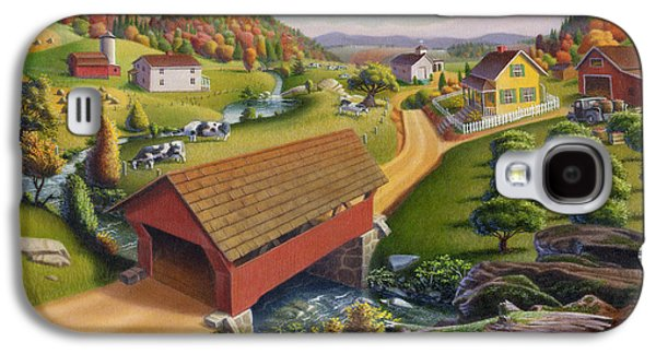 Covered Bridge Paintings Galaxy S4 Cases - Red Covered Bridge Country Farm Landscape - Square Format Galaxy S4 Case by Walt Curlee